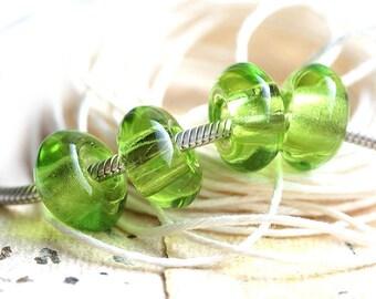 Large hole glass beads - Light Green beads, czech glass, 6mm hole, fit all European Charm Bracelets - 16x8mm - 4Pc - 2215