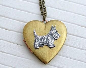 Scottie Dog Locket .. large locket, dog necklace, heart locket, vintage locket, brass locket, animal jewellery, Scottish