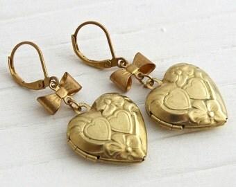 Heart Locket Earrings .. gold earrings, gold heart locket, heart earrings