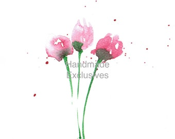 Handpainted Note cards,, Note Cards Set, Set of 4, Greeting Cards, Floral designs, Tulips, Spring,  Blank Note cards, Gift,  Mother's day
