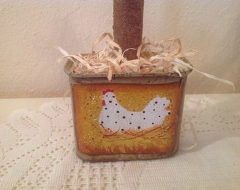 Chicken on Upcycled Can. Faux Finish Prim Candle Light. kitchen Decor. Housewarming Gift  Chicken Lover Farm Kitchen Battery Night Light
