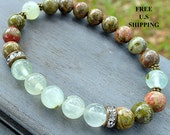 Yoga bracelet, Prehnite, Unakite,  Meditation bracelet, Reiki, Prehnite bracelet, wrist mala, energy bracelet, healing bracelet, mala