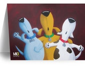 """Doodlewags """"Three Dog Night""""  Greeting Card for Dog Lovers."""