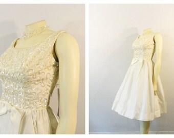 Vintage Dress 1960s 60s Ivory & Irridescent Sequin Cocktail Dress / Daytime Wedding Dress NWT Unworn Modern Size XXS - XS