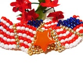 Waving Handmade Beaded Red, White and Blue Flag Bracelet with Gold Accents
