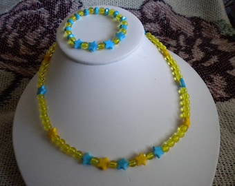Girl's Blue Yellow Star Necklace Set - 14 Inch Necklace - 6 Inch Stretch Bracelet - Silver Plated Lead and Nickel Free Toggle