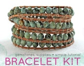 wrap bracelet kit african turquoise leather cord: DIY KIT supplies & tutorial - make your own