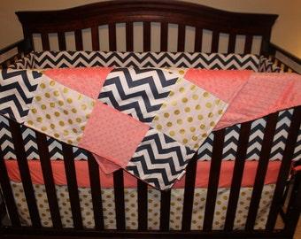 Baby Girl Crib Bedding - Navy Chevron, Coral, and Glitz White Gold Dot Crib Bedding Ensemble with Blanket or Patchwork Blanket