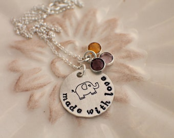 Hand Stamped Jewelry - Surrogacy Necklace - New Baby Necklace - Personalized Jewelry - Surrogate Jewelry - Mommy Necklace - Mom Jewelry