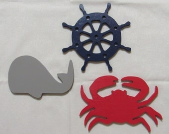 "10"" Nautical Beach Shapes Painted Wooden Wall Hanging Room Decor Kids Crafts Sailboat Crab Whale Anchor Whale, etc..."