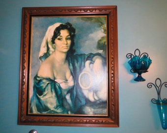 Vintage 1960s MID Century Modern Spanish Mediterranean Sultry Woman Francisco Ribera Wall Art Print