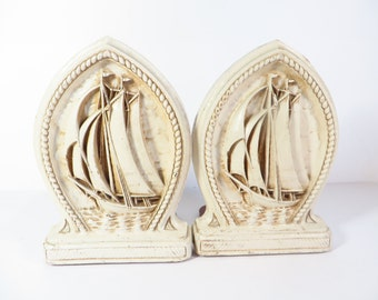 Vintage Syroco Style Ship Bookends -  Wood White Ship Bookends