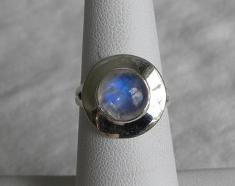 Moonstone Ring Handmade Ring Blue Flash 9mm Semiprecious Gemstone Ring Sterling Silver Ring Size 6 Take 20% Off Rainbow Moonstone Jewelry