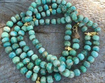 Long hand knotted amazonite gold triangle necklace