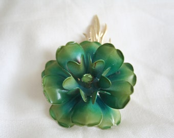 Vintage Coro Green Daisy Enamel Broock