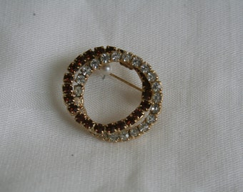Rhinestone Double Circle Brooch
