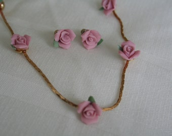Mini Pink Rose Earring and Necklace set