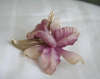 Purple Iris Flower Brooch