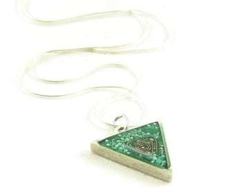 Orgone Energy Triangle Pendant in Antique Silver with Malachite - Unisex Necklace - Men's Necklace - Artisan Jewelry