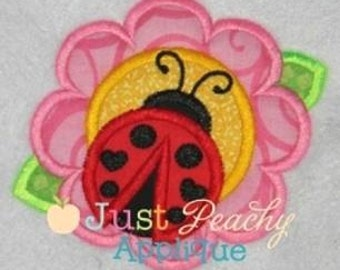 Ladybug Flower Machine Embroidery Applique Design