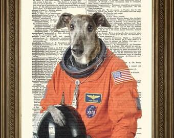 "ASTRONAUT DOG PRINT: Laika Space Canine Dictionary Art Wall Hanging, Orange (8 x 10"")"