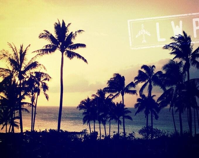 Tropical Palm Tree Decor, Maui Sunset Photograph, Travel Decor, Wanderlust Decor, Beach House Decor, Hawaii Seascape, 8x12 10x15 12x18 16x24