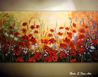 Abstract Wildflower.Original Contemporary Wildflower Painting.Palette Knife.Impasto.Poppies,Daisy Painting,Wildflower Field  - by Nata S.