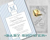 Stately Stripes Baby Boy Shower Invitation with Monogram - Classic Blue and White Design - Custom Printed Baby Shower Invites with Envelopes