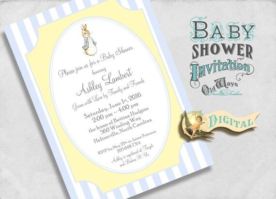 Peter Rabbit Baby Boy Shower Invitation Blue and Yellow - Printable Custom Invite DIY 5x7 or 4x6 Digital JPEG PDF Files