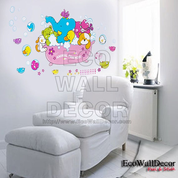 PEEL and STICK Removable Vinyl Wall Sticker Mural Decal Art - Animal Ark Family Bath Time