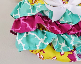 Baby Girl Bloomer-Fall bloomer-Floral diaper cover-multi color-ruffle diaper cover-Yellow and fuscia-Fall Baby girl