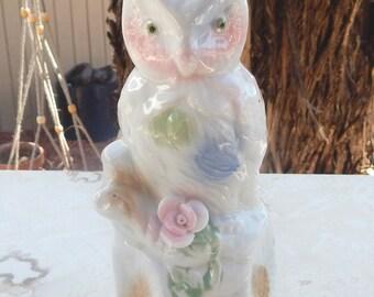 Pastel Porcelain Owl on Log  --  Pastel Owl  --  Porcelain Owl on Log  --  Red Mark Made in China