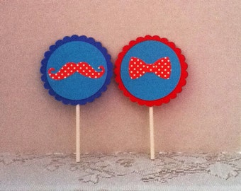 Cute Mustache Cupcake Toppers Set of 12