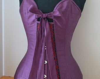 Purple Silk Sanakor Corset with Suspenders