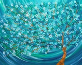 Teal & Turquoise Custom Tree Painting - Winter Morning Tree - Custom Abstract Tree Painting by Louise Mead