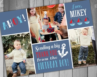 Thank You Card Nautical Birthday Party Nautical Thank You Cards Photo Thank You Card Birthday Thank You Card Printable Thank You Cards