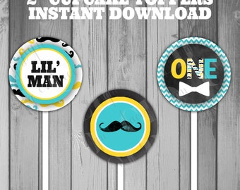 Cupcake Toppers Mustache Bash Moustache Bash Boy Birthday 1st Birthday Baby Boy Instant Download Printable Cupcake Birthday Party Little Man