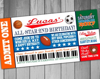 Sports Birthday Invitation Sports Birthday Party All Star Birthday Sports Ticket Invitation Boy Birthday Invitation Sports Party Invitation
