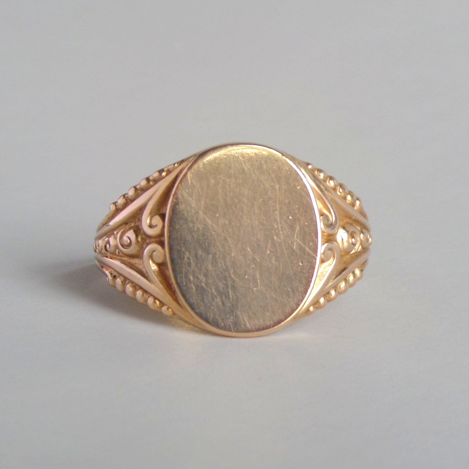 antique mens signet ring 10k gold fancy oval large