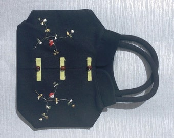 SALE Chinese Style Black Linen Handbag with Embroidered Detail at Front Goth Alternative Punk