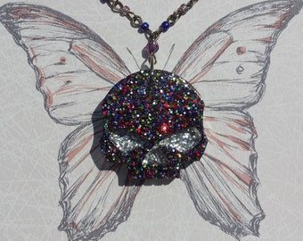 OOAK Multi Colour Glitter Resin Skull Pendant with Gold Tone & Bead Necklace Handmade Gothic Emo Steampunk