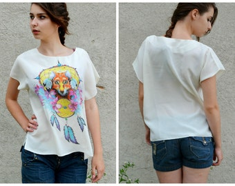 SALE 20% !!!! Women T-shirts hand-painted, OOAK ready to ship, Totem fox, plus size tunic tops, size M-L