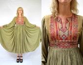 Antique Festival Dress Kuchi Afghanistan Insane Hand Made Folk Maxi Dress