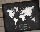 "NEW Chalkboard Style Map, Wedding Guest Book Alternative Map, Wedding Gift, Custom Map, Sizes 5""x7"" up to 42""x70"""