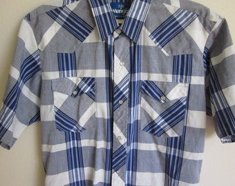 Vintage Men's Western Shirt  Wrangler plaid rodeo cowboy clothing M