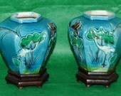 Pr Antique MAJOLICA VASES Six Sided W/ Applied Birds, Foliage n Blue, Green, Purple, Yellow, Ca 1900, Original Wood Bases,