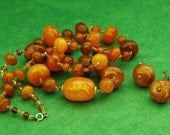 """81.99g Vintage Natural BALTIC AMBER NECKLACE Beads C 1960s, Approximately 33"""" Long, Pr. Matching Earrings w/ Patent # 3176475, Free Shipping"""