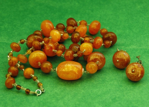"Reduced Price! Vintage Natural BALTIC AMBER NECKLACE Beads C 1950s Approximately 33"" Long Pr Matching Earrings w/ Patent # 3176475"