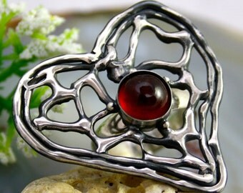 Hessonite Ring Garnet Stone Ring Sterling Silver Jewelry