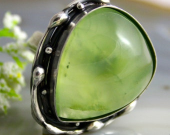Statement Ring Prehnite Ring Green Stone Sterling Silver